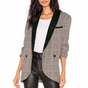 Free People Plaid & Velvet Blazer